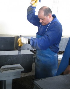 Spanish slate slab being split by hand