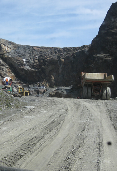 Very large dumper truck at the slate quarry