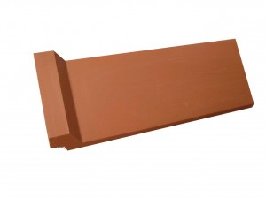 Terrracotta capped angle clay ridge tile