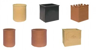 Large rectangular and circular chimney pots
